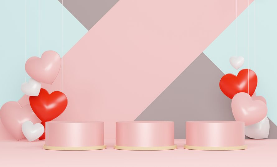 3d abstract minimal geometric forms. Glossy luxury podium for your design. Pink gift box, Pink balloon and heart on pastel background.Love celebration concept.
